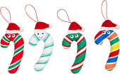 """Candy Cane 4"""" Plush Ornament 4-Pack"""