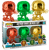 Aquaman (2018) - Arthur Curry in Hero Suit Red, Green & Gold Chrome Funko Pop! Vinyl Figure 3-Pack (Popcultcha Exclusive).