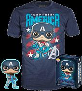 Avengers 4: Endgame - Captain America Glow in the Dark Pop! Vinyl Figure & T-Shirt Box Set.