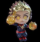 """Avengers 4: Endgame - Captain Marvel Metallic Cosbaby 3.75"""" Hot Toys Bobble-Head Figure"""