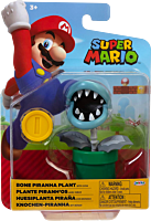 "Nintendo - Bone Piranha Plant with Coin 4"" Action Figure"
