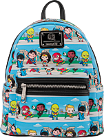 """Justice League - Chibi Heroes 10"""" Faux Leather Mini Backpack"""