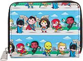 """Justice League - Chibi Heroes 5"""" Faux Leather Zip-Around Wallet"""