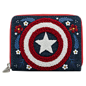 """Captain America - Floral 80th Anniversary 5"""" Faux Leather Zip-Around Wallet"""