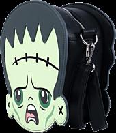 "Universal Monsters - Frankenstein & Bride of Frankenstein Chibi 8"" Faux Leather Die-Cut Crossbody Bag"
