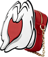 """Mickey Mouse - Mickey & Minnie Mouse Love Heart Hands 12"""" Faux Leather Crossbody Bag"""