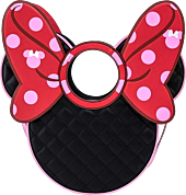 """Minnie Mouse - Quilted Pink Polka Dot Bow Head 13"""" Faux Leather Crossbody Bag"""