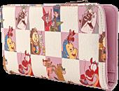 """Disney - Princess Sidekicks Rose Checker Print 8"""" Faux Leather Flap Wallet"""