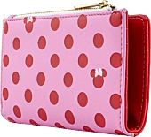 """Minnie Mouse - Pink & Red Polka Dot 6"""" Faux Leather Flap Wallet"""