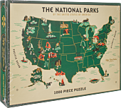 U.S. National Parks Map 1000 Piece Jigsaw Premium Puzzle by Brave in the Woods
