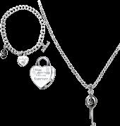 Twilight - Heart Bracelet and Key Necklace Jewellery Twin Pack