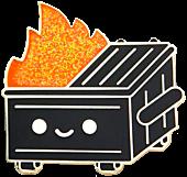 100% Soft - Dumpster Fire Black & Gold Enamel Pin