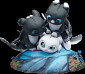 """How to Train Your Dragon 3: The Hidden World - Dart, Pouncer & Ruffrunner 5"""" Statue"""