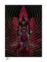Daredevil - Daredevil & Elektra Glow in the Dark Fine Art Print by Hoi Mun Tham (RS)