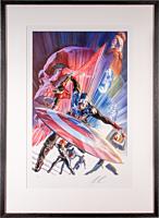 Captain America - Captain America Issue #600 Fine Art Print by Alex Ross (Framed Black on White)