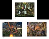 Dinosaurs - Curious, Eruption & Protection Fine Art Print Bundle by Vincent Hie (Set of 3)
